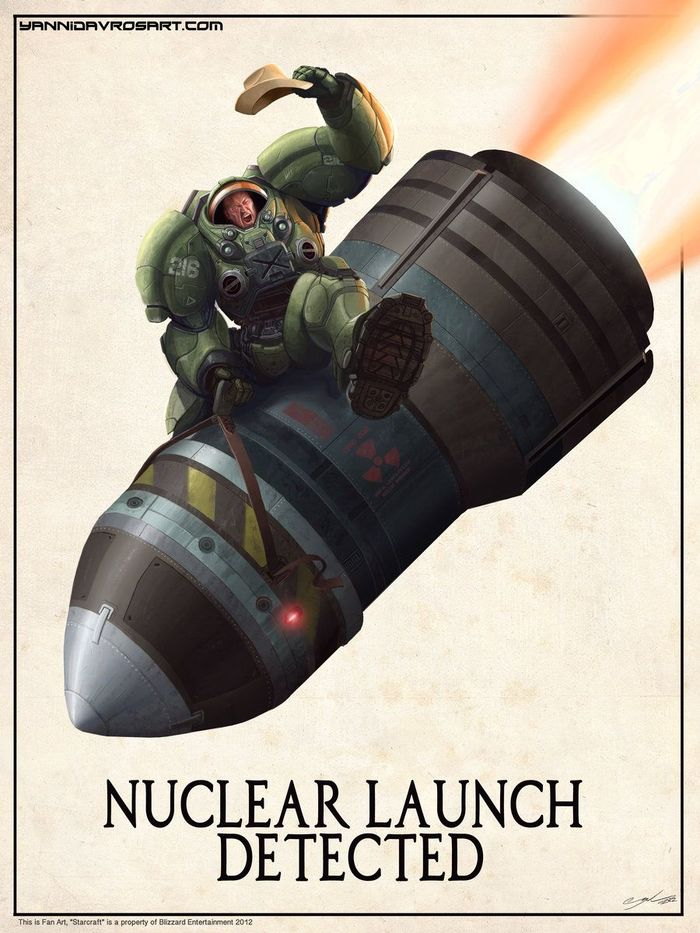 Обнаружен запуск ядерной ракеты! Starcraft, Starcraft 2, Blizzard, Компьютерные игры, Терраны, Ядерная ракета, Постер