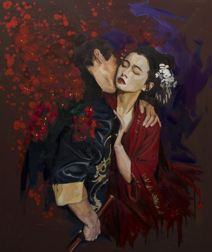 "Моя новая картина ""Поцелуй"" 120х100 см Арт, Живопись, Поцелуй, Сакура, Япония, Японка, Пара, Картина"