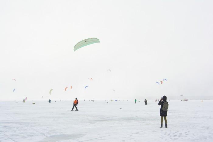 Сноукайтинг на Онежском озере