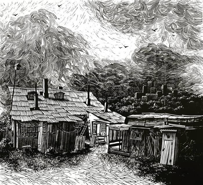 Новая линогравюра Линогравюра, Арт, Искусство, Деревня, Дом, Пейзаж, Домик в деревне, Небо, Длиннопост