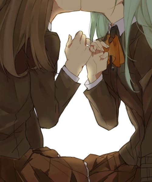 YuriColle Anime Art, Аниме, Kantai Collection, Kanmusu, Yuri, Поцелуй, Длиннопост, Hand holding