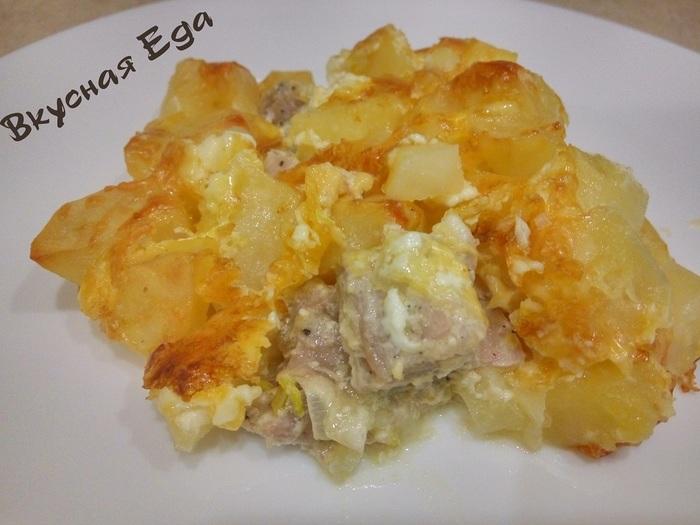 Картошка с мясом в духовке Картошка с мясом, Запеченный картофель, Мясо, Видео, Рецепт, Еда