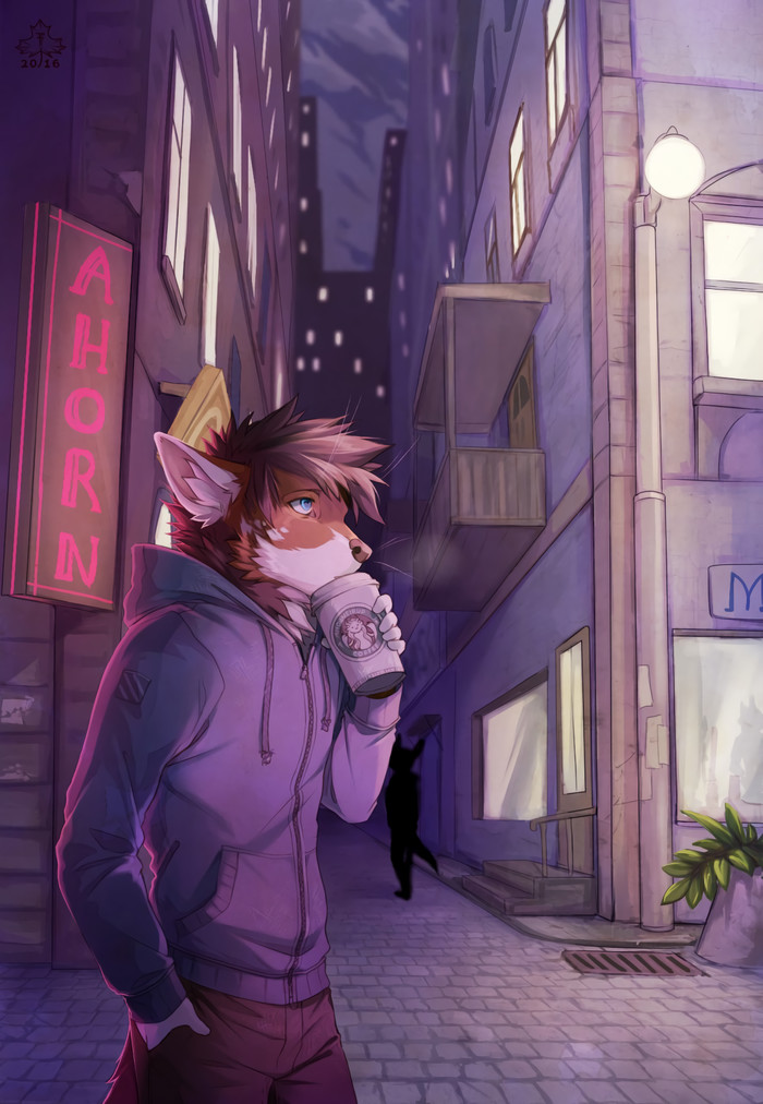 One short coffee for this long night Фурри, Furry Art, Антро, Furry Hybrid, Furry Fox, Furry Cat, Diesel Wiesel, Volcanins