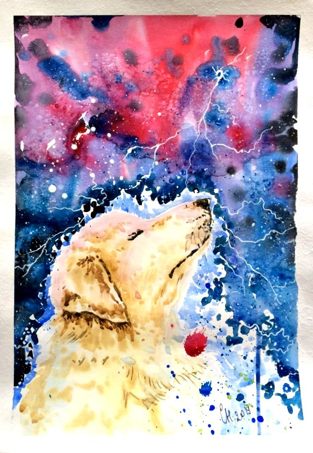 Космопес Арт, Рисунок, Живопись, Акварель, Пятничный тег моё, Собака, Животные, Творчество, Длиннопост