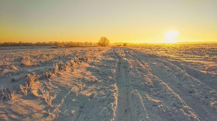 Закат в поле Закат, Снег, Пейзаж, Мобильная фотография, Саратовская область, Для подписчиков