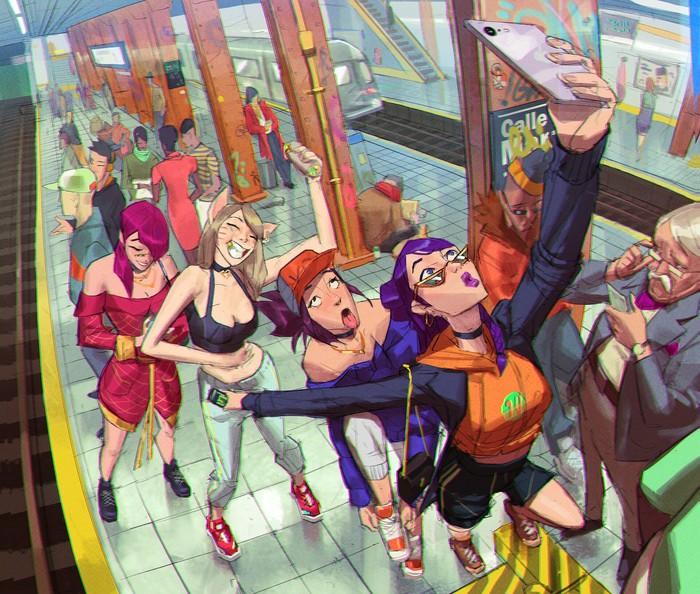 Художник Ramon Nunez Арт, Рисунок, Длиннопост, KDA, League of Legends, Суперсемейка, Breaking Bad, Человек-Паук: Через вселенные
