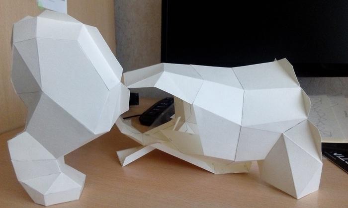 Щенок аляскинского маламута Papercraft, Low poly, Полигональные фигуры, Длиннопост, Щенки