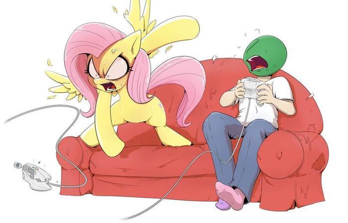 Четыреждыблядская ярость. My Little Pony, Fluttershy, Anon, Shoutingisfun