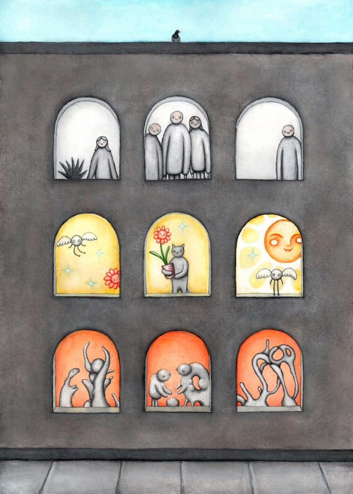 Смотрят из окна Кот, Люди, Комнатные растения, Дом, Окно, Птицы, Картина, Гуашь