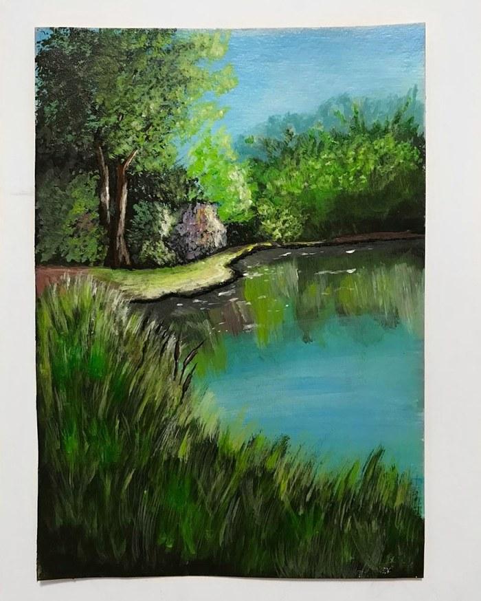 Учусь рисовать.Пейзаж акриловыми красками.
