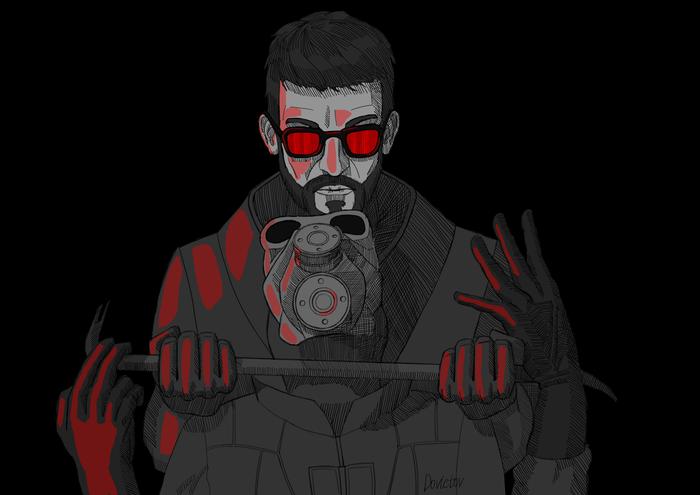 Ком в горле Альянса Цифровой рисунок, Half-Life 2, Гордон Фримен
