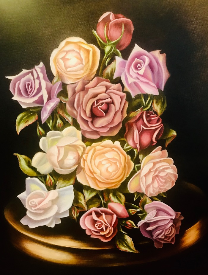 Почему я начала рисовать. Самоучка, Картина маслом, Цветы, Роза, Темный фон, Живопись, Длиннопост, Картина, Масло