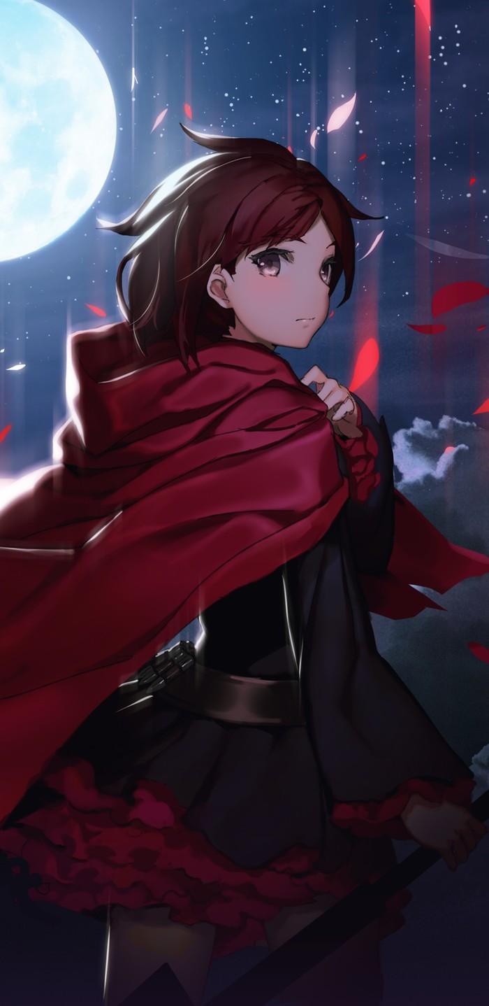 В лунном свете, мерцают лепестки розы... RWBY, Ruby Rose, Аниме, Не аниме, Anime Art