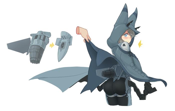 Истребитель Аниме, Anime Art, Арт, Monster Girl, Истребитель