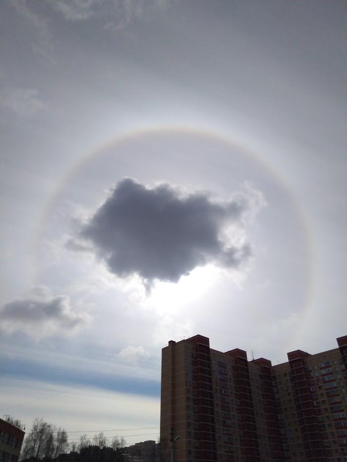 Наконец-то увидела Гало своими глазами) Гало, Солнце, Небо, Оптическое явление, Длиннопост