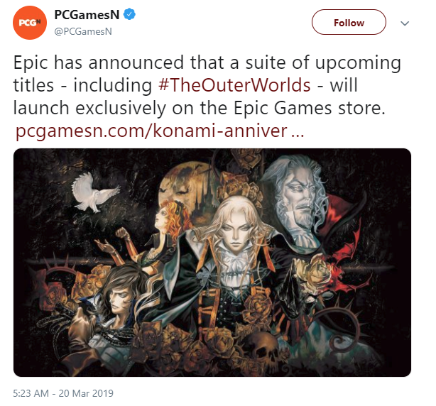 PCGamesN раньше времени сообщил о переходе The Outer Worlds в Epic Games Store и удалил твит DTF, The Outer Worlds, Игры, Epic Games Store, Слухи