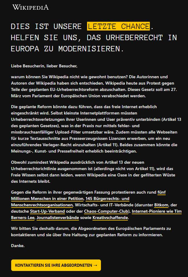 В Германии Википедия сегодня недоступна. Перевод, Википедия, Реформа, Авторские права, Интернет, Новости, Германия, Длиннопост