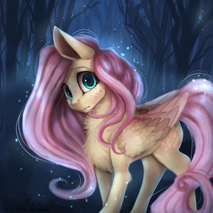 Night Shy My Little Pony, Fluttershy, Коллаб, Miokomata, Alissa1010