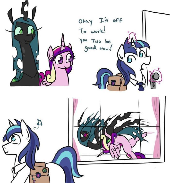 Останется только одна. My Little Pony, Shining Armor, Queen Chrysalis, Princess Cadance, Jargon Scott, Комиксы
