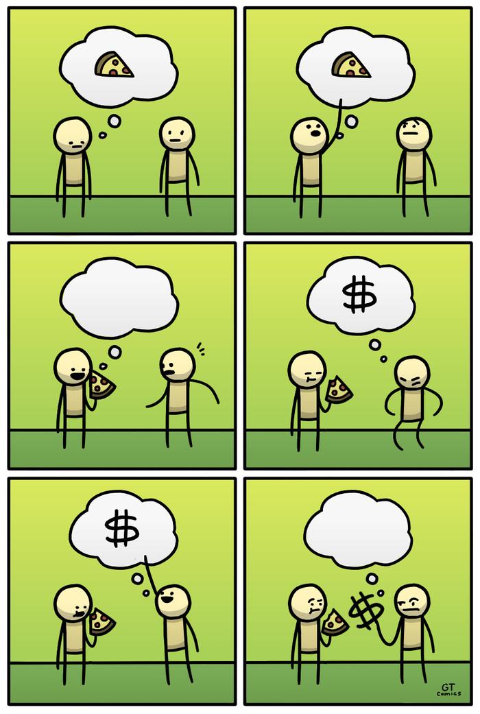Мысли Комиксы, Пицца, Деньги, Мысли
