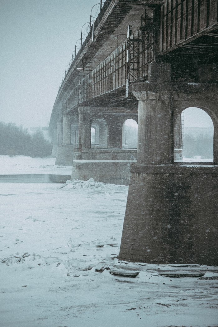 Безлюдная набережная Омск, Безлюдно, Снегопад, Меланхолия, Фотография, Canon 600D, Kit18-55, Гелиос44м, Длиннопост