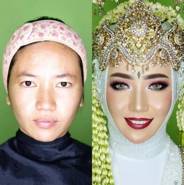 Азиатские невесты до и после нанесения свадебного макияжа Азиаты, Девушки, До и после, Макияж, Длиннопост