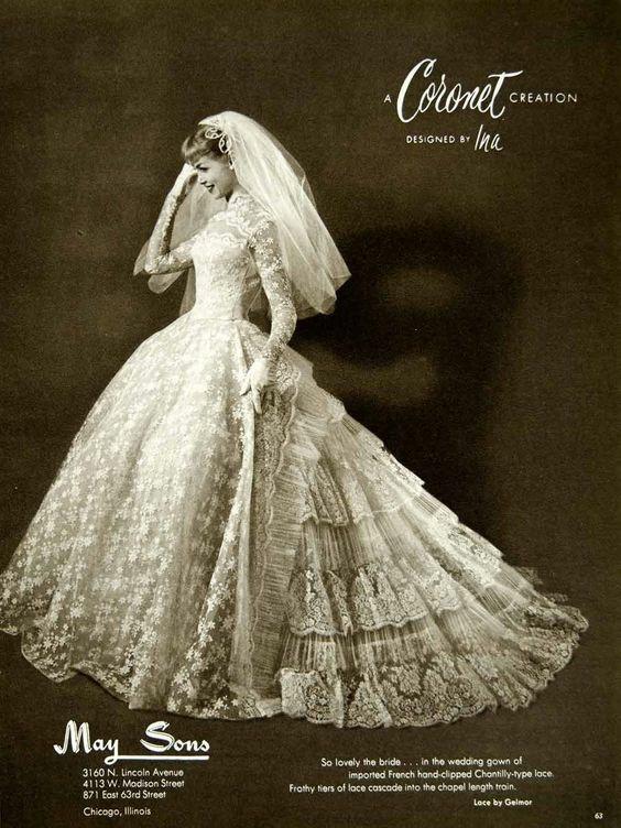 Свадебные платья, 1950-е Красивые платья, Винтаж, Мода, 50-е, Длиннопост, Свадебное платье