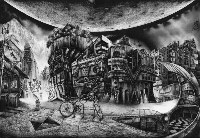 Графическая серия, посвящённая теме мира, оставшегося без человечества. Графика, Постапокалипсис, Архитектура, Черно-Белое, Современное искусство, Длиннопост