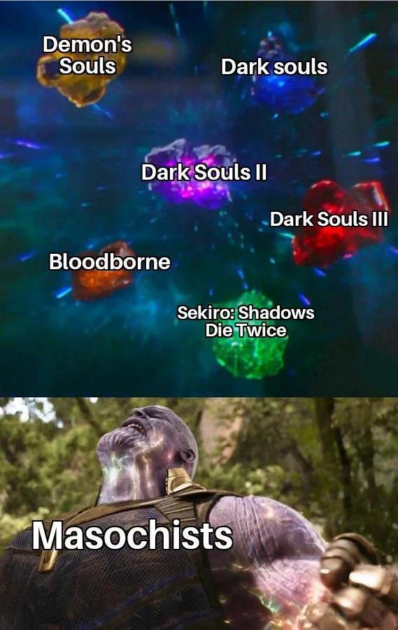From Software знает как завести игроков Игры, Sekiro: Shadows Die Twice, Dark Souls, Bloodborne, Demons Souls, Танос, Marvel, Юмор
