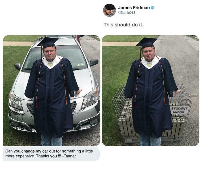 Джеймс всегда поможет Джеймс Фридман, Студенты, Машина, Photoshop, Кредит, Образование, Дорого, Twitter
