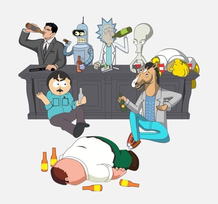 Изображение в векторе. Гриффины, Футурама, South Park, Симпсоны, Рик и Морти