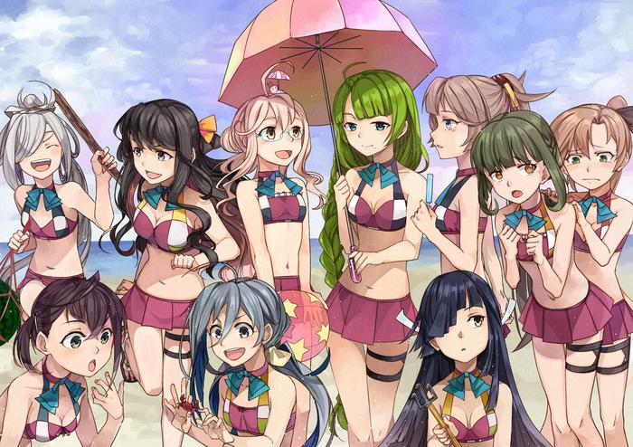 Море Anime Art, Аниме, Kantai Collection, Купальник, Kanmusu, Kiyoshimo, Naganami, Yuugumo