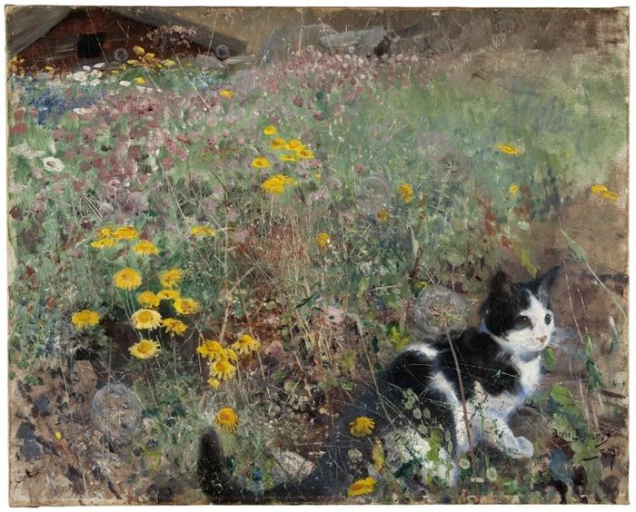 """Бруно Лильефорс """"Кот на цветочной поляне"""", 1887 год."""