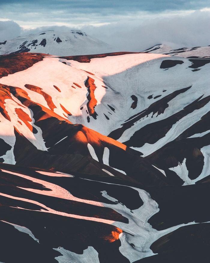 Горы в закатных лучах Фотография, Исландия, Горы, Закат, Снег