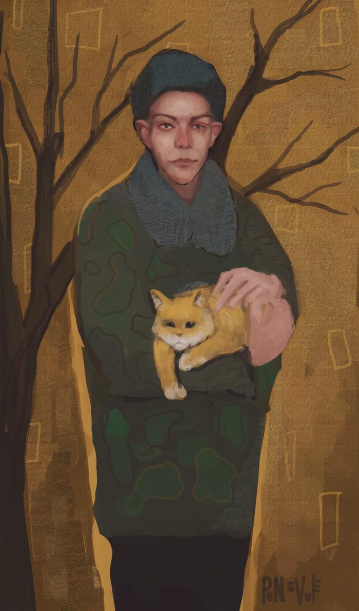 """""""Спасший кота"""" Digital, Портрет, Арт, Цифровой рисунок, Рисунок, Кот, Солдаты"""