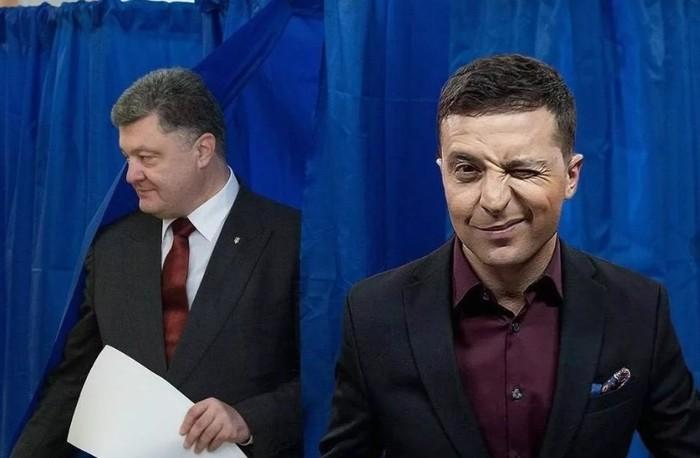 Петрушка и Скоморох 1 апреля, Выборы, Украина, Петр Порошенко, Владимир Зеленский, Политика
