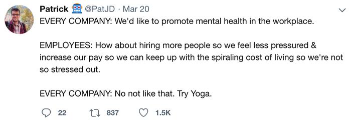 Забота о сотрудниках Twitter, Скриншот, Работа, Психическое здоровье, Забота, Сотрудники, Начальство, Йога