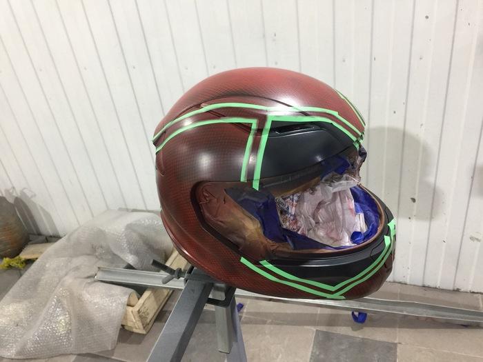 Аэрография на детском мото шлеме Deadpool Аэрография, Шлем, Мото, Дэдпул, Длиннопост