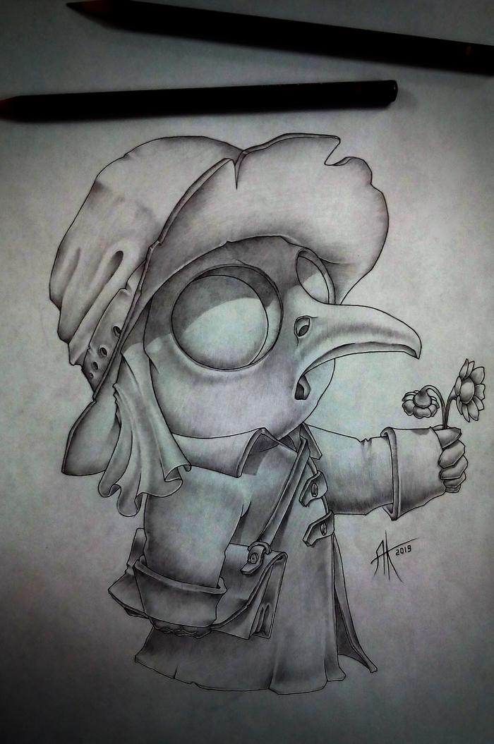 Доктор Чумной доктор, Персонажи, Вымышленные персонажи, Рисунок, Рисунок карандашом, Цветы