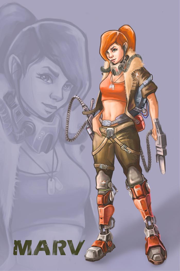 Рисунок в CG. Марв. Компьютерная графика, Рисунок, Цифровой рисунок, Девушки, Киберпанк, Протез