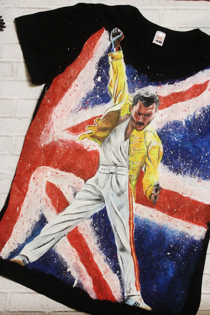 Такая вот футболка с Фредди Меркьюри получилась Своими руками, Фредди Меркьюри, Роспись по ткани, Длиннопост