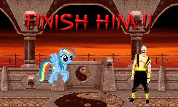 Dash's Rainboom Fatality My Little Pony, Mortal Kombat, MLP Crossover, Rainbow Dash, Shang Tsung, Sonic rainboom, Finish him, Fatality, Гифка