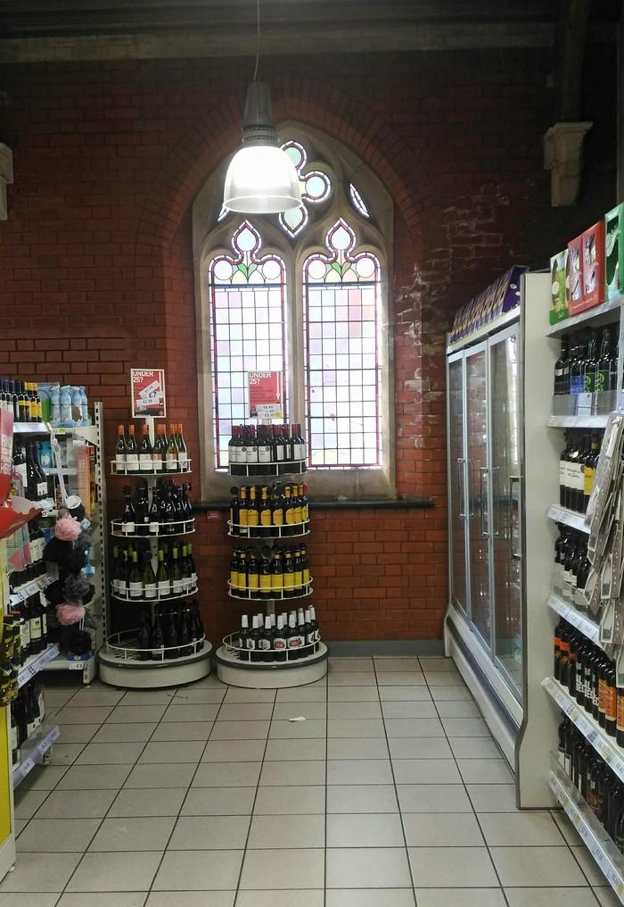 Супермаркет в церкви Англия, Магазин, Церковь, Длиннопост