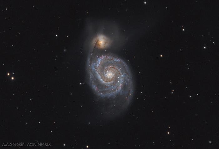 """Результат 15 часов съемки галактики M51 """"Водоворот"""" Астрофото, Астрономия, Космос, Галактика, Телескоп, Звёзды, Длиннопост"""