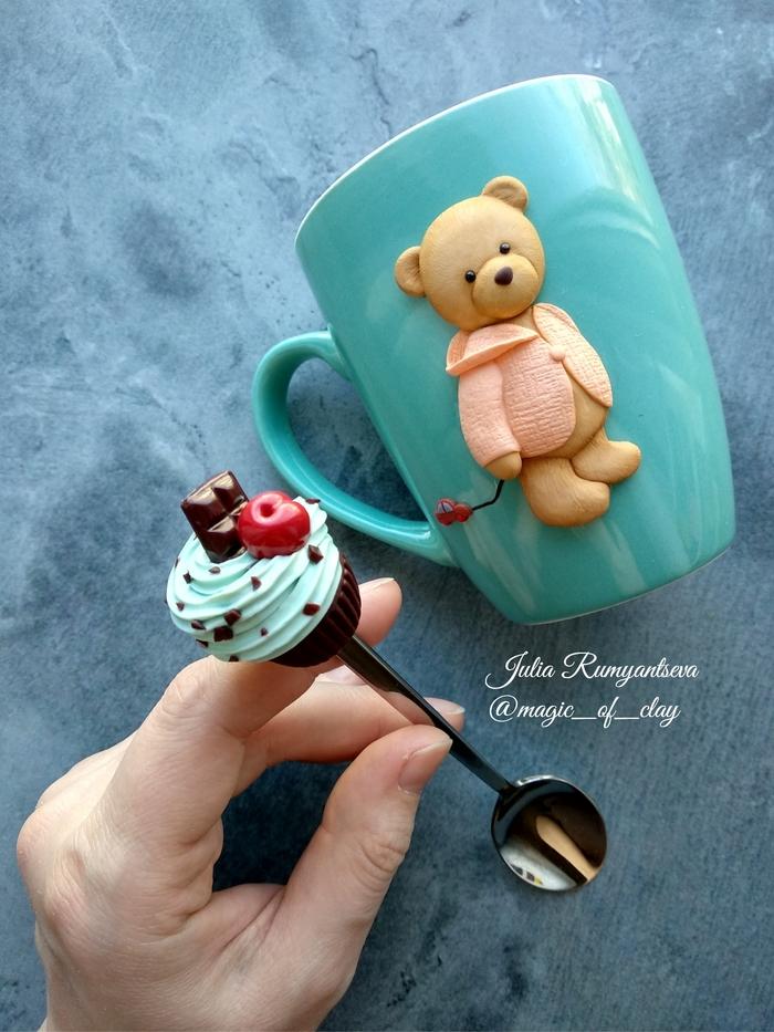 ...для сладких чаепитий Полимерная глина, Сладости, Мишка тедди, Рукоделие без процесса, Кружка с декором, Рукоделие, Медведь, Длиннопост