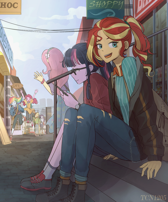 Hang out My Little Pony, Equestria Girls, Sunset Shimmer, Mane 6, Looknamtcn