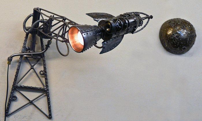 С Днём космонавтики всех празднующих! Ракета, Лампа, Полёт на Луну, День космонавтики, Жюль Верн, Стимпанк, Длиннопост
