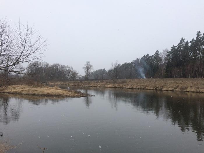 Апрель на реке Река, Москва-Река, Апрель, Весна, Московская область, Можайский район, Длиннопост