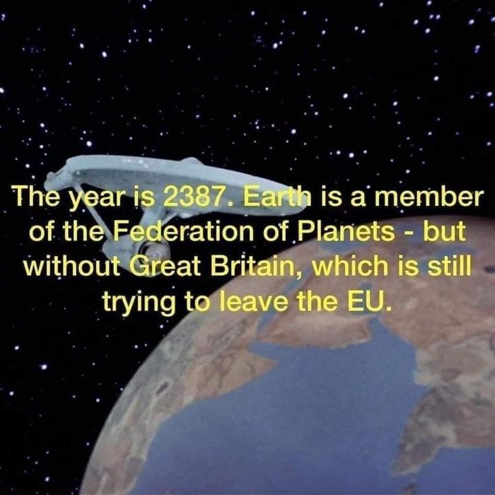 2387 год. Земля является членом Федерации Планет. Кроме Великобритании, которая по-прежнему пытается выйти из ЕС.