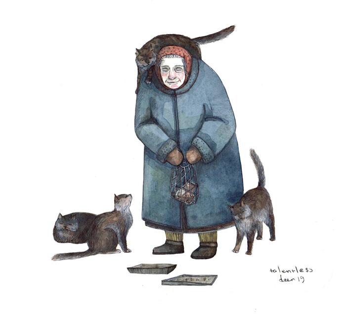 Бабушка Рисунок, Арт, Иллюстрации, Графика, Акварель, Скетч, Кот, Бабушка